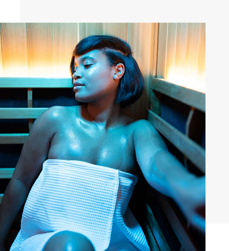 Contraindications_woman_blue_infrared_sauna