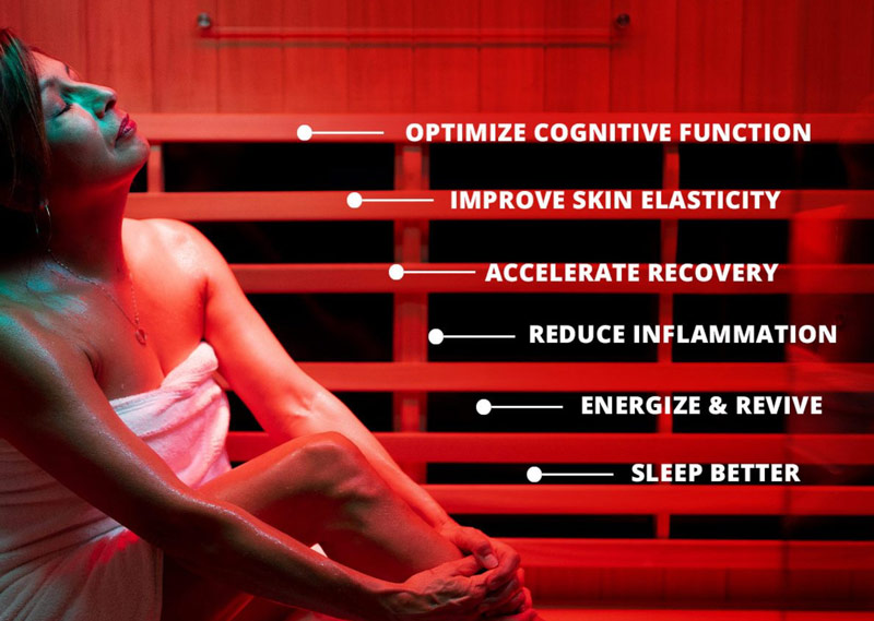 Woman in sauna enjoying all the benefits of red light therapy