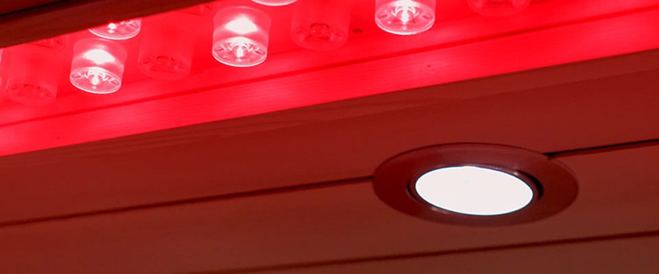 High-intensity Red Lights inside a Perspire Sauna